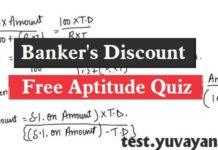 Free Aptitude Quiz in English, Banker's Discount Aptitude Quiz in English