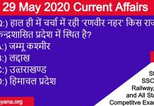 29 May 2020 current affairs by yuvayana