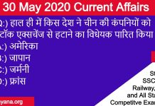 30 may 2020 current affairs in hindi